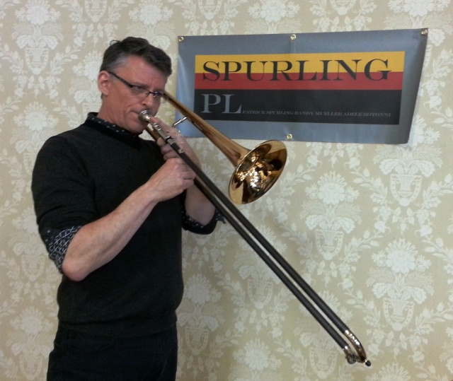 Randy playing with a carbon fiber trombone slide