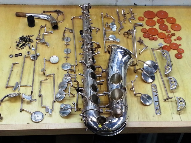 Deconstructed Selmer Alto Sax
